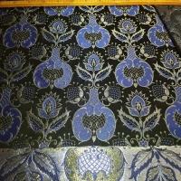 Brokat Damast blau schwarz silber - 30%
