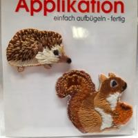Applikation Igel & Eichhörnchen zum aufbügeln
