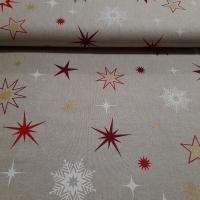 Weihnachtsdekostoff Leinenoptik mit Sternen