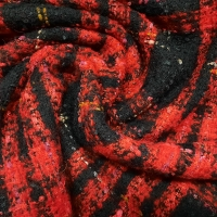 Woll-Bouclé schwarz rot