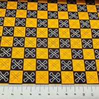 Patchworkstoff Piratenflagge schwarz gelb
