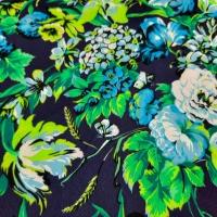 Wunderschöner Viskose Stoff mit farbenprächtigem Blumenmuster blau türkis