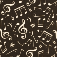 Baumwolle schwarz mit Musiknoten
