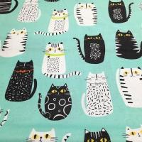 Patchworkstoff mint mit Katzen
