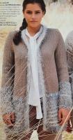 Wollpaket Strickjacke Montego taupe mit Effektgarn