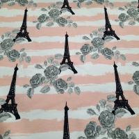 French Terry  Eiffelturm Paris Fräulein von Julie Sommersweat apricot weiß grau schwarz -30%