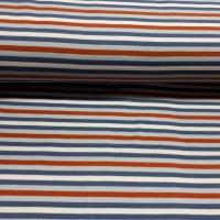 Modischer Streifenjersey blau kupfer