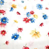 Patchworkstoff weiss mit bunten Blumen
