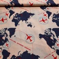 Patchworkstoff Flugzeug Weltkarte