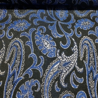 Brokat Damast schwarz silber blau mit Paisleymuster