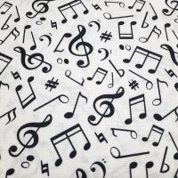 Baumwolle weiss schwarz mit Musiknoten