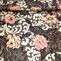Patchworkstoff  mit Blumen braun beige creme Rosenholz