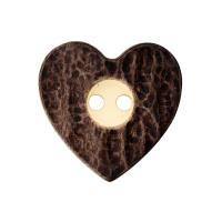 Hornimitatknopf Herz dunkelbraun 16mm