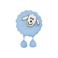 Kinderknopf Schaf blau