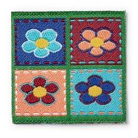 4 Blumen Eckig Applikation